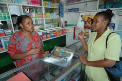 Affordable mosquito nets are sold in drug stores of Tanzania
