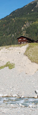 Strong erosion threatens peoples homes (Klosters)