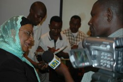 Tanzania's Minister of Finance, Zakia Meghji, replies to questions by local media on budget support